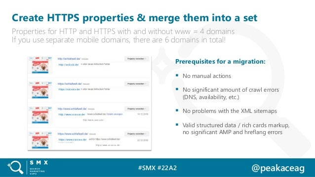 #SMX #22A2 @peakaceag Create HTTPS properties & merge them into a set Properties for HTTP and HTTPS with and without www =...