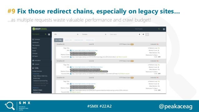 #SMX #22A2 @peakaceag #9 Fix those redirect chains, especially on legacy sites… …as multiple requests waste valuable perfo...