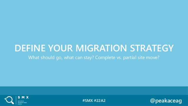 #SMX #22A2 @peakaceag What should go, what can stay? Complete vs. partial site move? DEFINE YOUR MIGRATION STRATEGY
