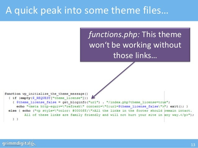 A quick peak into some theme files…                 functions.php: This theme                 won't be working without    ...