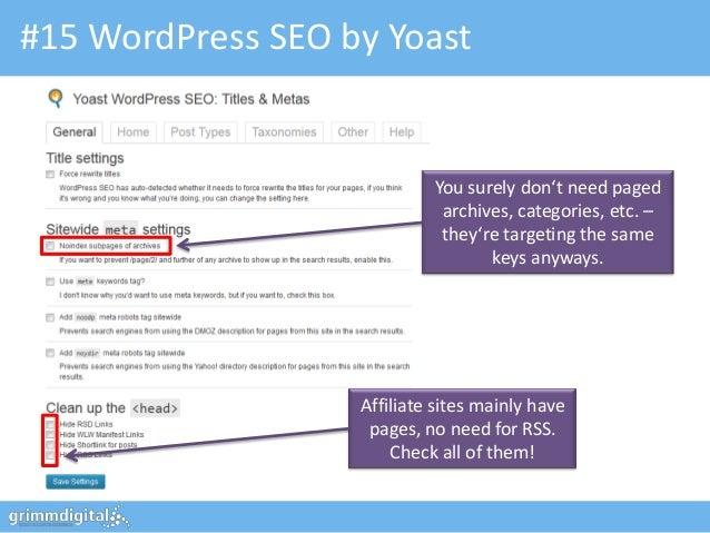 #15 WordPress SEO by Yoast                            You surely don't need paged                             archives, ca...