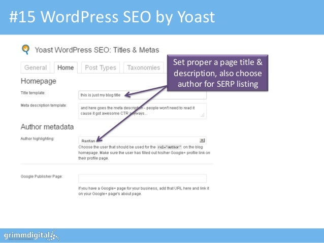 #15 WordPress SEO by Yoast                    Set proper a page title &                    description, also choose       ...