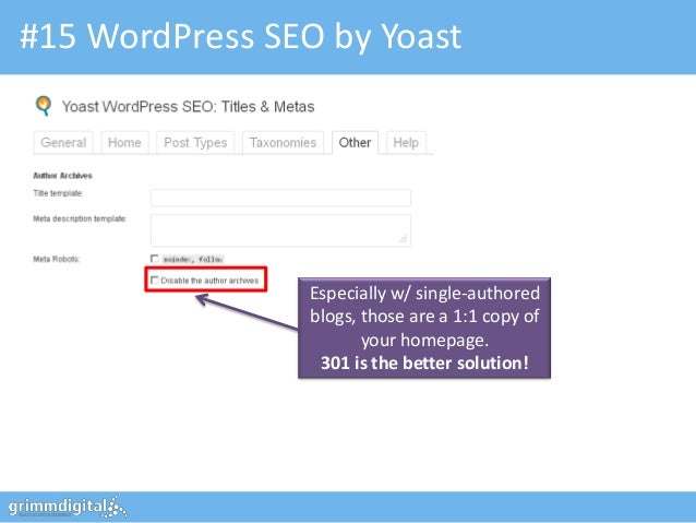 #15 WordPress SEO by Yoast                 Especially w/ single-authored                 blogs, those are a 1:1 copy of   ...