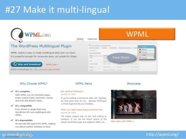 #27 Make it multi-lingual                            WPML                               http://wpml.org/