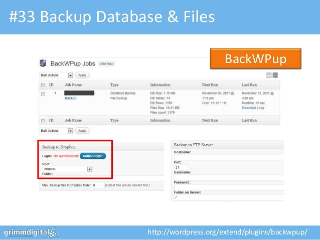 #33 Backup Database & Files                                       BackWPup                  http://wordpress.org/extend/pl...