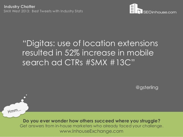 """Industry ChatterSMX West 2013: Best Tweets with Industry Stats                """"Digitas: use of location extensions        ..."""