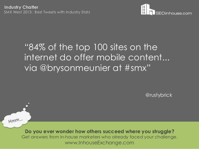 """Industry ChatterSMX West 2013: Best Tweets with Industry Stats                """"84% of the top 100 sites on the            ..."""