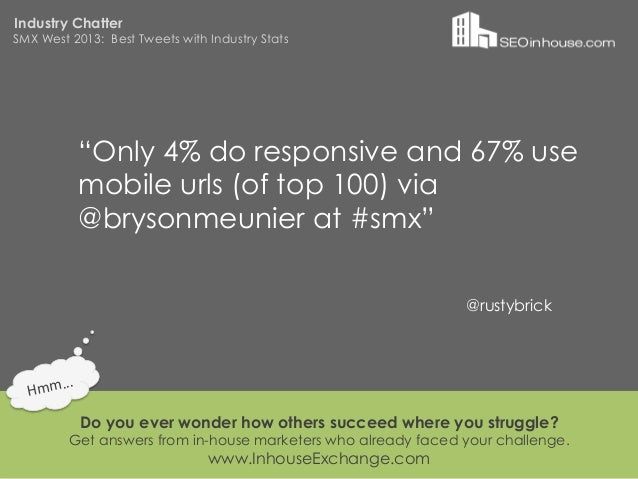 """Industry ChatterSMX West 2013: Best Tweets with Industry Stats                """"Only 4% do responsive and 67% use          ..."""