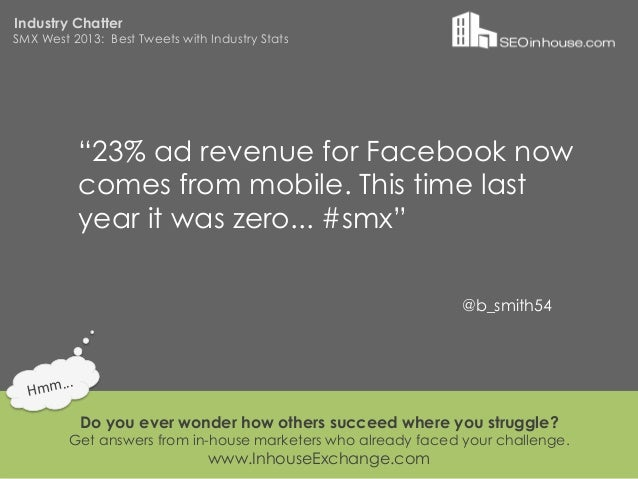 """Industry ChatterSMX West 2013: Best Tweets with Industry Stats                """"23% ad revenue for Facebook now            ..."""