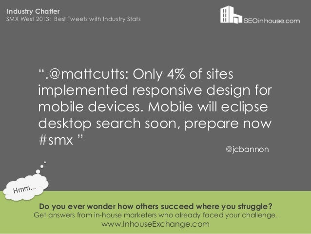 """Industry ChatterSMX West 2013: Best Tweets with Industry Stats                """".@mattcutts: Only 4% of sites              ..."""