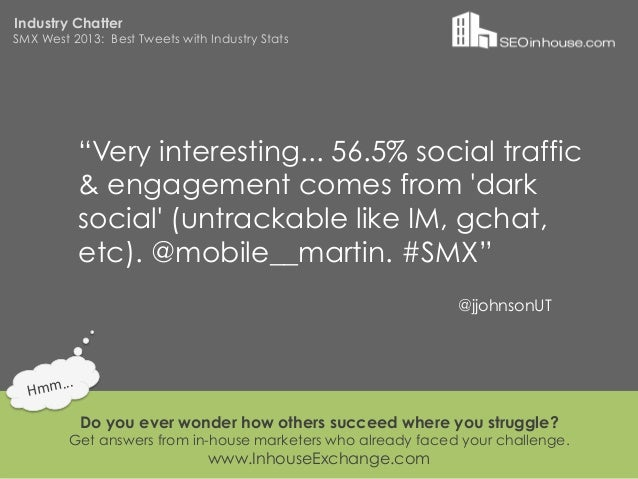 """Industry ChatterSMX West 2013: Best Tweets with Industry Stats                """"Very interesting... 56.5% social traffic   ..."""
