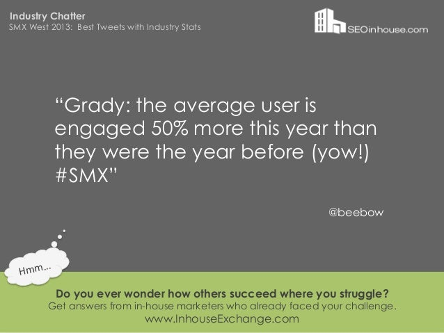"""Industry ChatterSMX West 2013: Best Tweets with Industry Stats                """"Grady: the average user is                e..."""