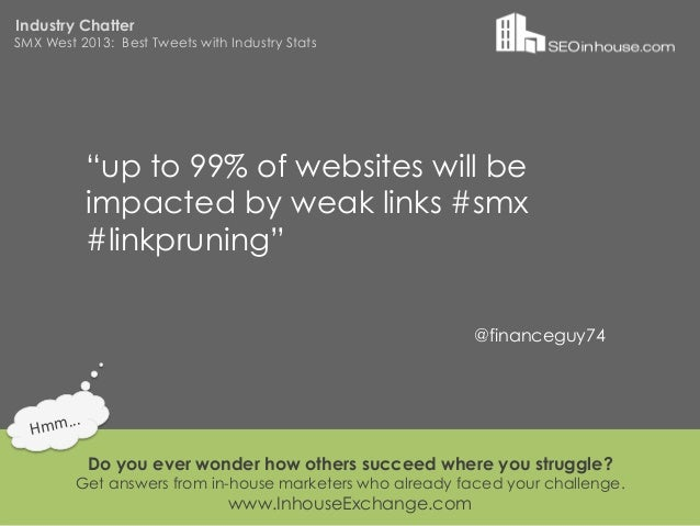 """Industry ChatterSMX West 2013: Best Tweets with Industry Stats                """"up to 99% of websites will be              ..."""