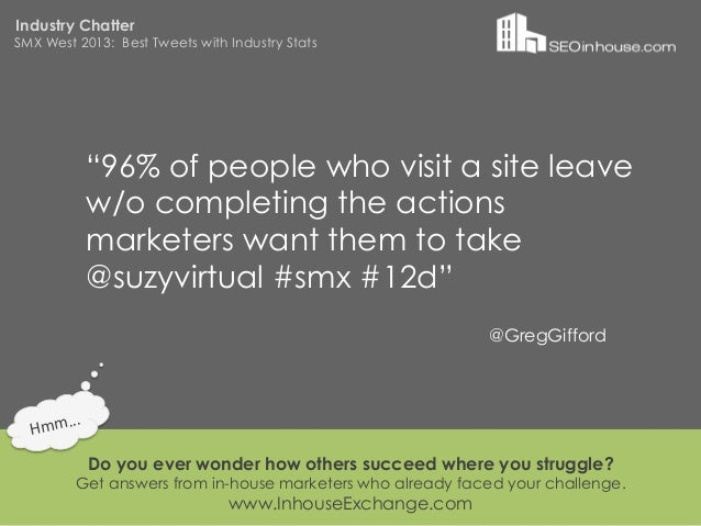 """Industry ChatterSMX West 2013: Best Tweets with Industry Stats                """"96% of people who visit a site leave       ..."""