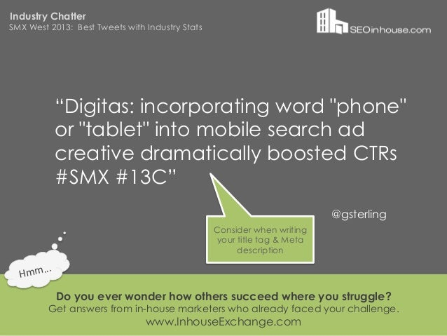 """Industry ChatterSMX West 2013: Best Tweets with Industry Stats                """"Digitas: incorporating word """"phone""""        ..."""