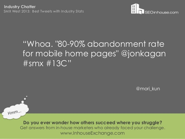 """Industry ChatterSMX West 2013: Best Tweets with Industry Stats                """"Whoa. """"80-90% abandonment rate             ..."""