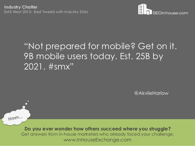 """Industry ChatterSMX West 2013: Best Tweets with Industry Stats                """"Not prepared for mobile? Get on it.        ..."""