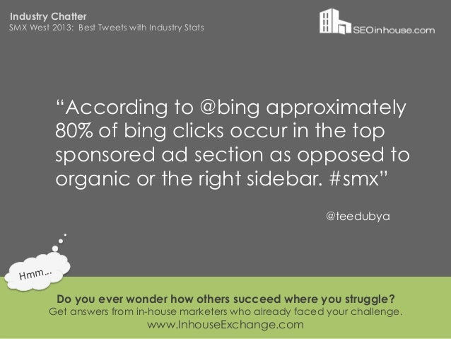 """Industry ChatterSMX West 2013: Best Tweets with Industry Stats                """"According to @bing approximately           ..."""