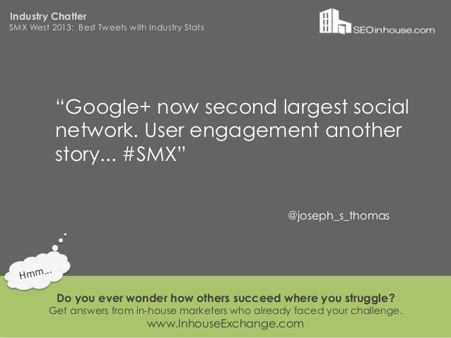 """Industry ChatterSMX West 2013: Best Tweets with Industry Stats                """"Google+ now second largest social          ..."""