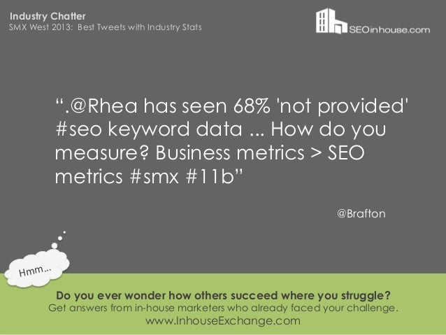 """Industry ChatterSMX West 2013: Best Tweets with Industry Stats                """".@Rhea has seen 68% not provided           ..."""