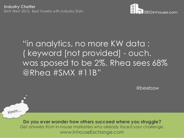 """Industry ChatterSMX West 2013: Best Tweets with Industry Stats                """"in analytics, no more KW data :            ..."""