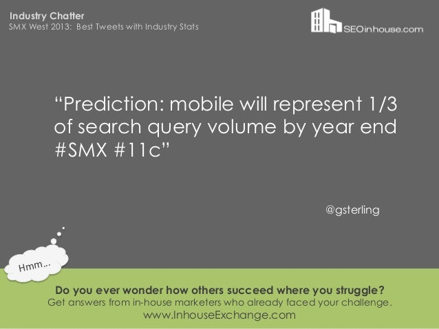 """Industry ChatterSMX West 2013: Best Tweets with Industry Stats                """"Prediction: mobile will represent 1/3      ..."""