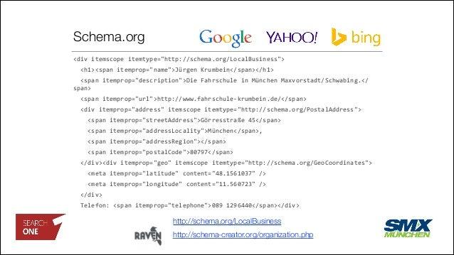 """Schema.org <div  itemscope  itemtype=""""http://schema.org/LocalBusiness"""">       <h1><span  itemprop=""""name"""">Jürge..."""
