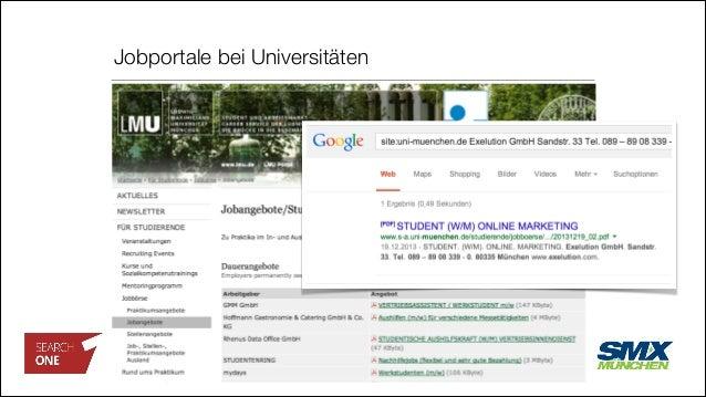 Jobportale bei Universitäten http://www.s-a.uni-muenchen.de /studierende/jobboerse/index.html