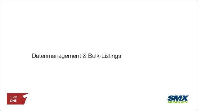 Datenmanagement & Bulk-Listings