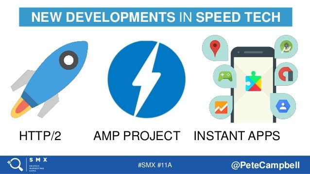 #SMX #11A @PeteCampbell NEW DEVELOPMENTS IN SPEED TECH HTTP/2 AMP PROJECT INSTANT APPS