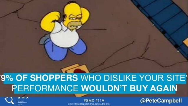 #SMX #11A @PeteCampbell 79% OF SHOPPERS WHO DISLIKE YOUR SITE'S PERFORMANCE WOULDN'T BUY AGAIN Credit: https://blog.kissme...