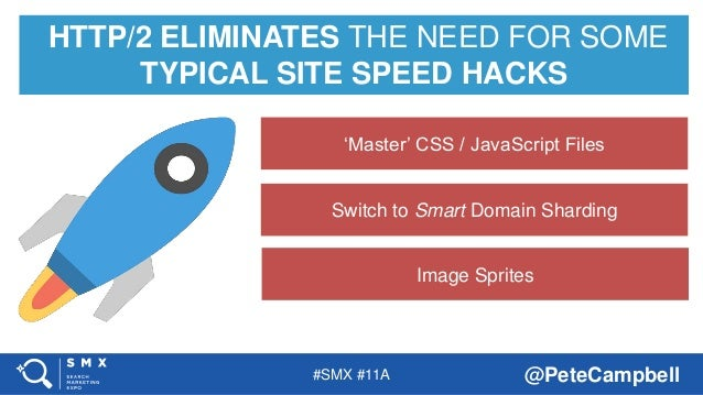 #SMX #11A @PeteCampbell HTTP/2 ELIMINATES THE NEED FOR SOME TYPICAL SITE SPEED HACKS Image Sprites Switch to Smart Domain ...