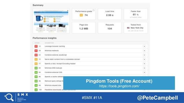 #SMX #11A @PeteCampbell Pingdom Tools (Free Account) https://tools.pingdom.com/