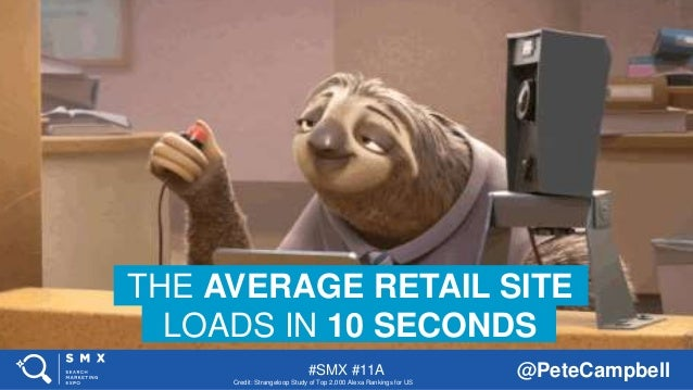 #SMX #11A @PeteCampbell THE AVERAGE RETAIL SITE LOADS IN 10 SECONDS Credit: Strangeloop Study of Top 2,000 Alexa Rankings ...