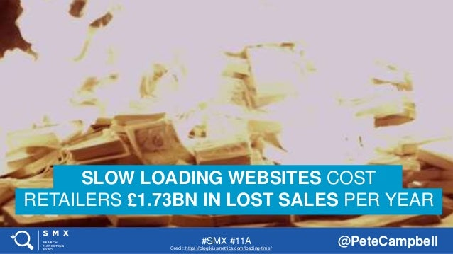 #SMX #11A @PeteCampbell SLOW LOADING WEBSITES COST RETAILERS £1.73BN IN LOST SALES PER YEAR Credit: https://blog.kissmetri...