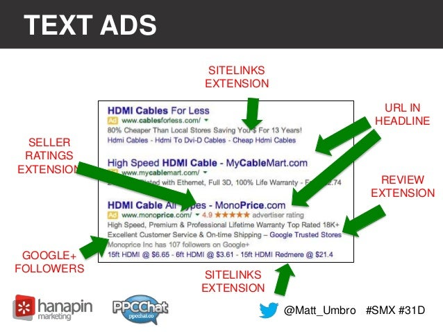 TEXT ADS  #SMX #31D  SITELINKS  EXTENSION  URL IN  HEADLINE  REVIEW  EXTENSION  SELLER  RATINGS  EXTENSION  GOOGLE+  FOLLO...