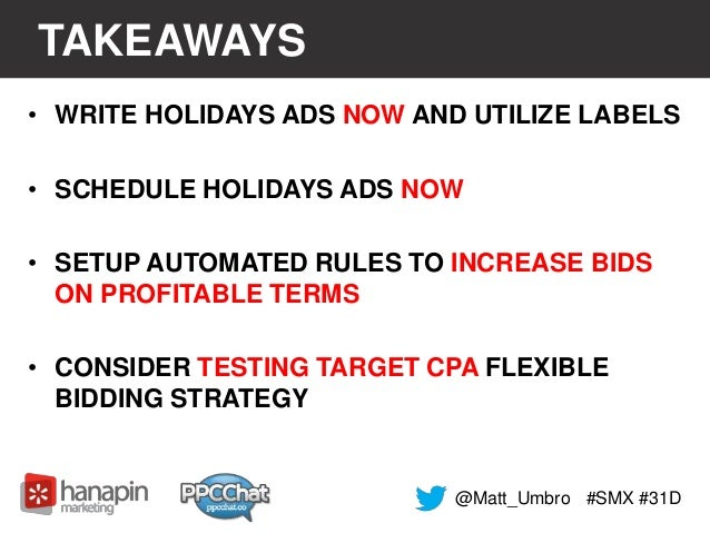 TAKEAWAYS  • WRITE HOLIDAYS ADS NOW AND UTILIZE LABELS  • SCHEDULE HOLIDAYS ADS NOW  • SETUP AUTOMATED RULES TO INCREASE B...