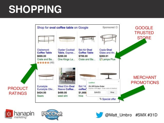 SHOPPING  #SMX #31D  PRODUCT  RATINGS  GOOGLE  TRUSTED  STORE  MERCHANT  PROMOTIONS  @Matt_Umbro