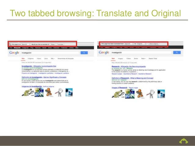 Two tabbed browsing: Translate and Original