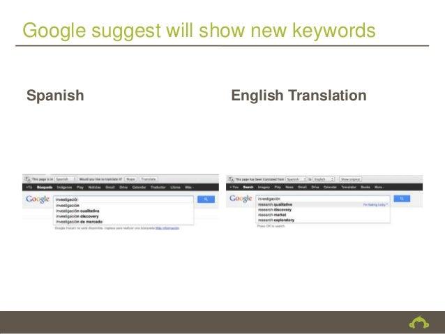 Google suggest will show new keywordsSpanish              English Translation