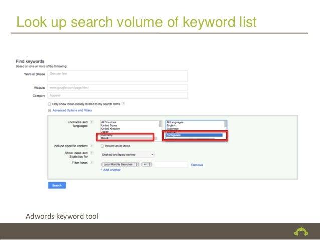 Look up search volume of keyword list Adwords keyword tool