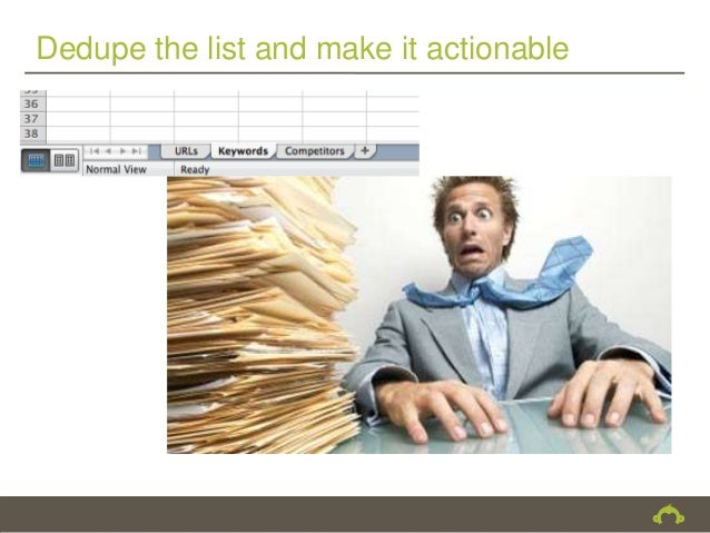 Dedupe the list and make it actionable
