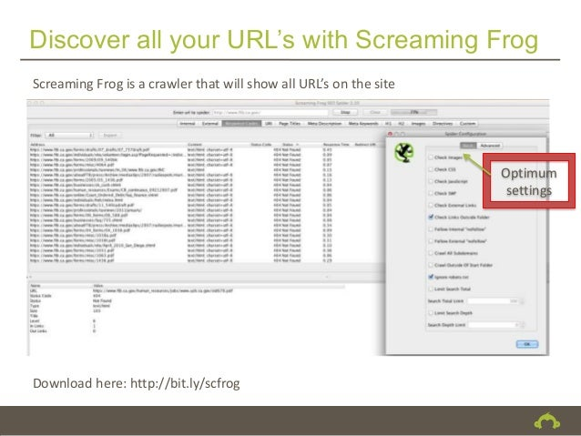 Discover all your URL's with Screaming FrogScreaming Frog is a crawler that will show all URL's on the site               ...