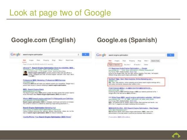 Look at page two of GoogleGoogle.com (English)   Google.es (Spanish)