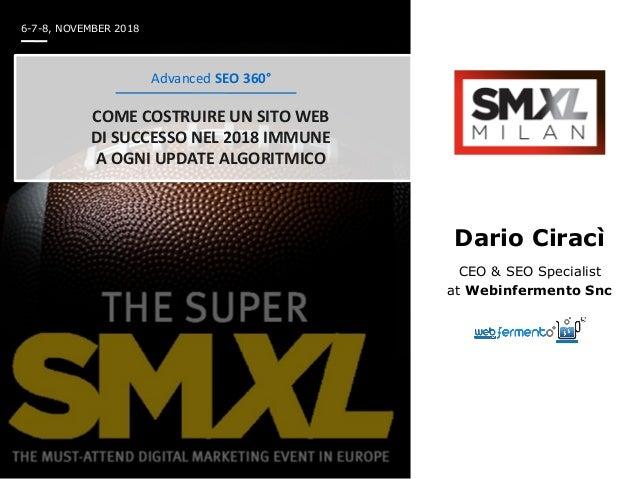 Dario Ciracì CEO & SEO Specialist at Webinfermento Snc Advanced SEO 360° COME COSTRUIRE UN SITO WEB DI SUCCESSO NEL 2018 I...