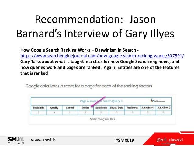 @bill_slawskiwww.smxl.it #SMXL19 Recommendation: -Jason Barnard's Interview of Gary Illyes How Google Search Ranking Works...