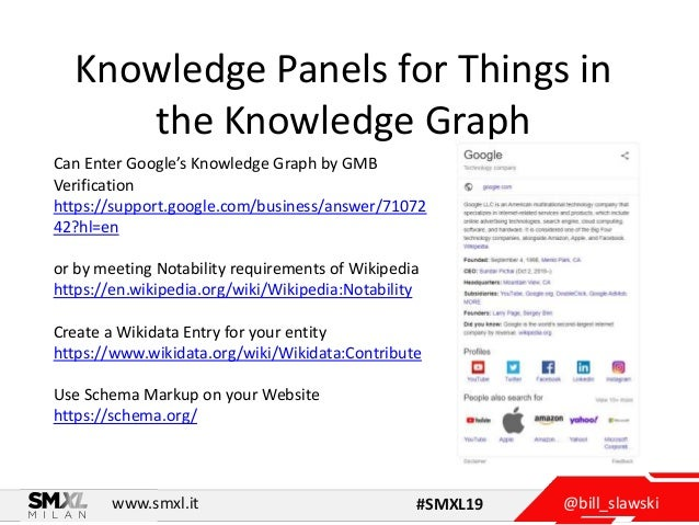 @bill_slawskiwww.smxl.it #SMXL19 Knowledge Panels for Things in the Knowledge Graph Can Enter Google's Knowledge Graph by ...