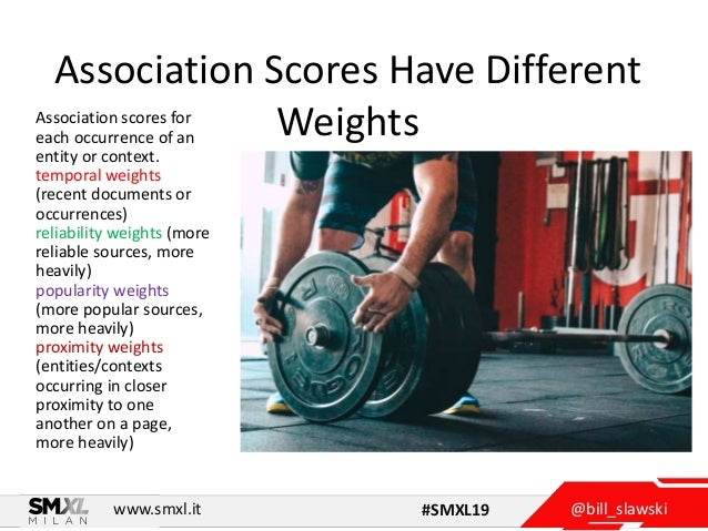 @bill_slawskiwww.smxl.it #SMXL19 Association Scores Have Different WeightsAssociation scores for each occurrence of an ent...