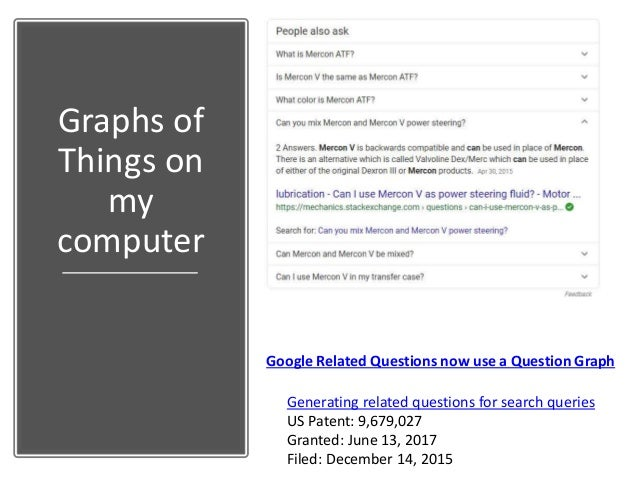 Graphs of Things on my computer Google Related Questions now use a Question Graph Generating related questions for search ...