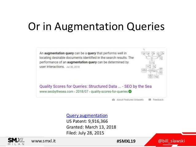@bill_slawskiwww.smxl.it #SMXL19 Or in Augmentation Queries Query augmentation US Patent: 9,916,366 Granted: March 13, 201...